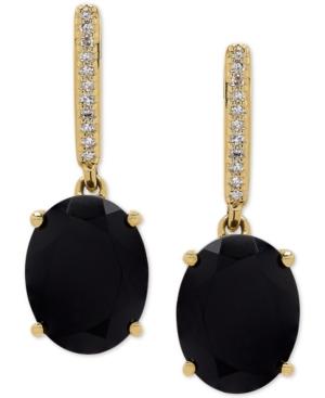 Onyx (9 x 7mm) & Diamond Accent Drop Earrings in 14k Gold