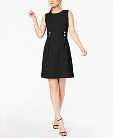 Anne Klein Button-Trim Fit & Flare Dress