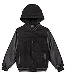 DKNY Big Boys Hooded Varsity Jacket