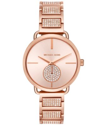 Women's Portia Rose Gold-Tone Stainless Steel Pavé Accent Bracelet Watch 37mm