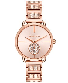 Michael Kors Women's Portia Rose Gold-Tone Stainless Steel Pavé Accent Bracelet Watch 37mm