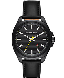 Michael Kors Men's Bryson Black Leather Strap Watch 42mm