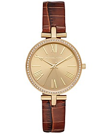 Women's Maci Brown Leather Strap Watch 34mm, Created for Macy's