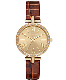 Michael Kors Women's Maci Brown Leather Strap Watch 34mm