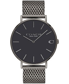 COACH Men's Charles Created for Macy's Gray Stainless Steel Mesh Bracelet Watch 36mm