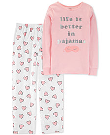 Carter's Little & Big Girls 2-Pc. Heart-Print Pajama Set