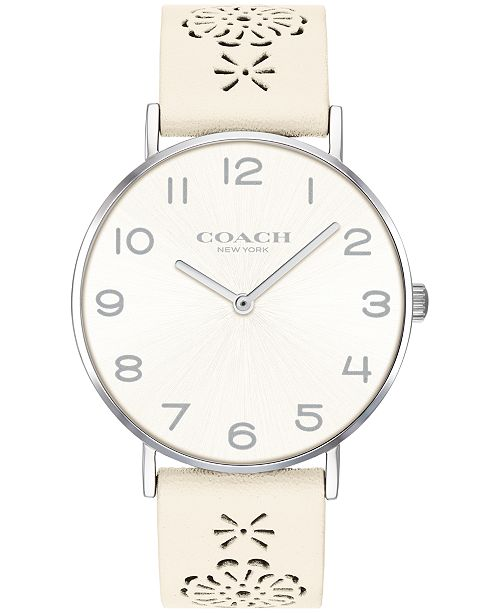 ca65e0077e ... COACH Women's Perry Chalk Leather Strap Watch 36mm Created for Macy's  ...