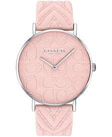 COACH Women's Perry Created for Macy's Ice Pink Silicone Strap Watch 36mm