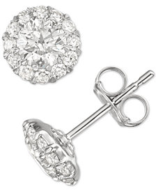 Diamond Cer Stud Earrings 1 Ct T W In 14k White Gold