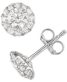 Diamond Cluster Stud Earrings (1 ct. t.w.) in 14k White Gold