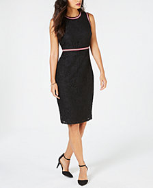 Thalia Sodi Lace Striped-Trim Dress, Created for Macy's