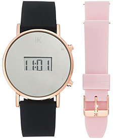 I.N.C. Women's Digital Black Silicone Strap Watch 39mm Gift Set, Created by Macy's