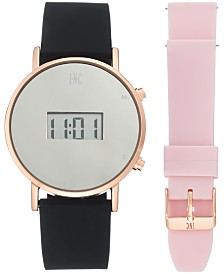 I.N.C. Women's Digital Black Silicone Strap Watch 39mm Gift Set, Created by Macy's