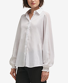 DKNY Contrast Button-Front Shirt, Created for Macy's