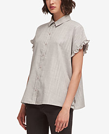 DKNY Ruffle-Trim Lurex® Striped Shirt, Created for Macy's
