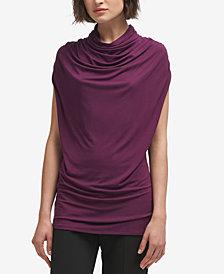 DKNY Draped Cap-Sleeve  Turtleneck Top, Created for Macy's
