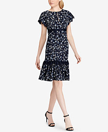 Lauren Ralph Lauren Lace-Trim Floral Printed Dress