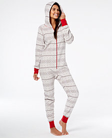 Matching Family Pajamas Women's Winter Fairisle Hooded One-Piece, Created For Macy's
