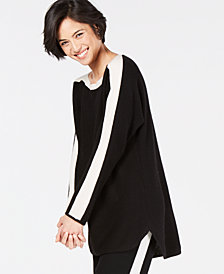 Charter Club Colorblocked Pure Cashmere Sweater, Created for Macy's