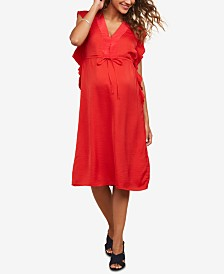 Motherhood Maternity Flutter-Sleeve Dress