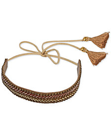 Deepa Gold-Tone Beaded Tassel Wrap Headband