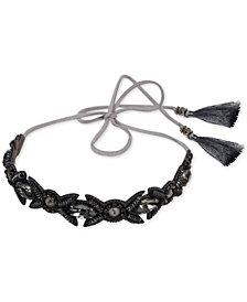 Deepa Gunmetal-Tone Crystal & Tassel Suede Headband