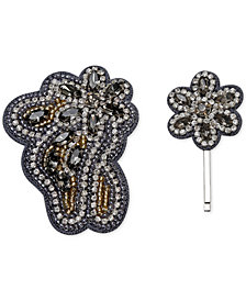 Deepa 2-Pc. Set Gunmetal-Tone Embellished Clip & Hair Pin