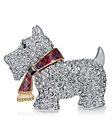 Holiday Lane Silver-Tone Pavé & Epoxy Scotty Pin, Created for Macy's