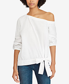Lauren Ralph Lauren Asymmetrical Broadcloth Cotton Top