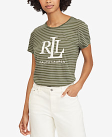 Lauren Ralph Lauren Striped Logo T-Shirt