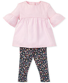 Ralph Lauren Baby Girls Shirred Top & Floral-Print Leggings Set