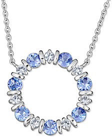 "Tanzanite (2 ct. t.w.) and White Sapphire (3/4 ct. t.w.) 18"" Pendant Necklace in Sterling Silver"