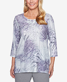 Alfred Dunner Petite Smart Investments Stud-Trim 3/4-Sleeve Top