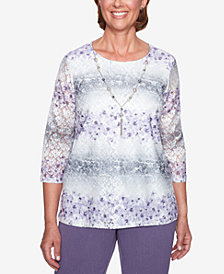 Alfred Dunner Petite Smart Investments Lace 3/4-Sleeve Necklace Top