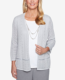 Alfred Dunner Petite Removable-Necklace Layered-Look Sweater