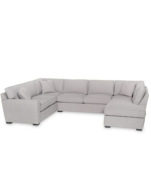 Furniture Callington 3 Pc Fabric Feather Down Chaise Sectional Created For Macy S