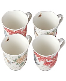 Butterfly Meadow Holiday Set/4 Mugs Poinsettias and Jasmine Design, Created for Macy's