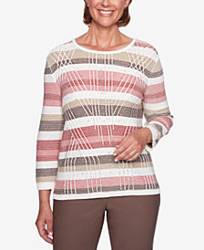 Alfred Dunner Petite Sunset Canyon Striped Studded Sweater
