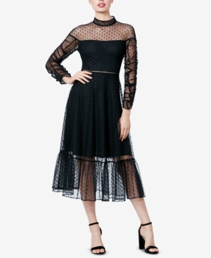 Betsey Johnson MESH RUCHED-SLEEVE DRESS