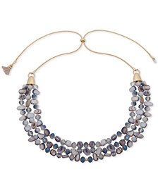 "lonna & lilly Gold-Tone Bead, Stone & Tassel 29"" Slider Statement Necklace"