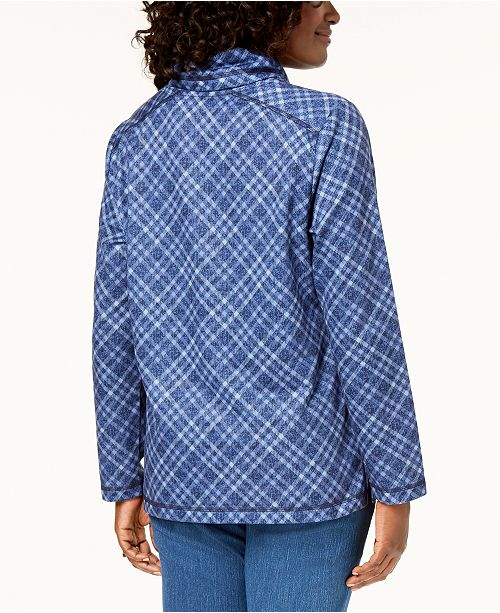 for Scott Neck Plaid Created Blue Intrepid Top Karen Funnel Macy's fA17wnq