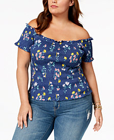 Say What? Trendy Plus Size Cotton Off-The-Shoulder Top
