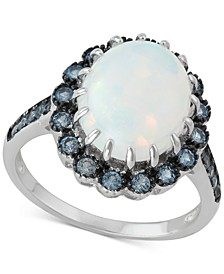 Cubic Zirconia Simulated Opal Statement Ring in Sterling Silver