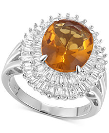 Cubic Zirconia Simulated Citrine Baguette Statement Ring in Sterling Silver