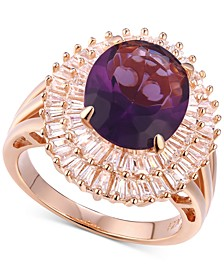 Cubic Zirconia Simulated Amethyst Baguette Statement Ring in 14k Rose Gold-Plated Sterling Silver