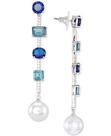 Nina Silver-Tone Stone & Imitation Pearl Linear Drop Earrings
