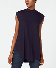 Eileen Fisher Mock-Neck Cap-Sleeve Tunic
