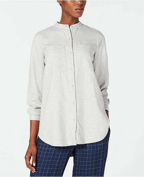 Dark Button Down Cotton Fisher Top Eileen Organic Pearl qYwHWR