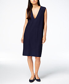 Eileen Fisher Washable Crepe Deep-V-Neck Shift Dress, Regular & Petite