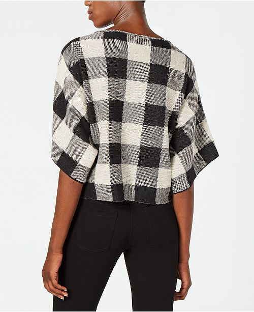 Eileen Top Plaid Linen Organic Black Fisher rn0q8rpwP